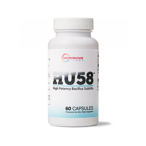 Image of a bottle of HU58 daily probiotic supplements from Clinical Nutrition Centers
