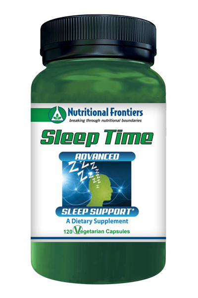An image of the Nutritional Frontiers Sleep Time sleep aid supplement bottle.