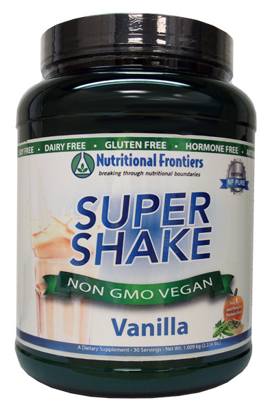 Super Shake Vanilla by Clinical Nutrition Centers   2.224 lbs (1.009 kgs)  CNC's Super Shake is made by the same manufacturer (DaVinci Labs) and is the same product as Nutritional Frontiers Super Shake, but when you purchase Clinical Nutrition Centers Super Shake, CNC provides an important discount and savings to you for the same product, same formulation, same clinical strength & effectiveness, allowing you to achieve your health weightloss goals faster, or enabling you to save on adding additional products to your supplemental regiment.  About Super Shake:  DESCRIPTION:  A hypoallergenic, vegetarian, low carbohydrate meal replacement powder suitable for those with food allergies and food sensitivities.  Super Shake provides a low carbohydrate meal replacement option that is free from the most common food allergens, including gluten, dairy, and soy.  Many protein powders on the market contain common food allergens, making those shakes unsuitable for sensitive individuals.  Super Shake features pea, rice, and pumpkin as its protein sources, providing a delicious alternative for people on a variety of food programs including weight management, detoxification, low carbohydrate, diabetes, food allergies, or those simply looking to add shakes to their daily routine.  Super Shake can be mixed easily with water, coconut, rice or almond milk, and juice.  Super Shake may be added to a blender with fresh or frozen fruit, coconut, rice or almond milk, ice, nut butter, and/or for extra nutritional value, one of Clinical Nutrition Centers€™ Pro Colors powders such as Pro Lean Greens, Pro Oranges, Pro Purples, or Pro Reds.  About Super Shake:  A hypoallergenic, vegetarian, low carbohydrate meal replacement powder suitable for those with food allergies and food sensitivities.  Super Shake provides a low carbohydrate meal replacement option that is free from the most common food allergens, including gluten, dairy, and soy.  Many protein powders on the market contain common food allergens, making those shakes unsuitable for sensitive individuals.  Super Shake features pea, rice, and pumpkin as its protein sources, providing a delicious alternative for people on a variety of food programs including weight management, detoxification, low carbohydrate, diabetes, food allergies, or those simply looking to add shakes to their daily routine.  Super Shake can be mixed easily with water, coconut, rice or almond milk, and juice.  Super Shake may be added to a blender with fresh or frozen fruit, coconut, rice or almond milk, ice, nut butter, and/or for extra nutritional value, one of Clinical Nutrition Centers€™ Pro Colors powders such as Pro Lean Greens, Pro Oranges, Pro Purples, or Pro Reds.