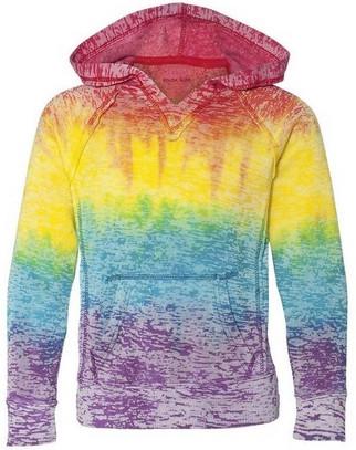 Koloa Surf Girls Rainbow Stripe V Neck Burnout Hoodie