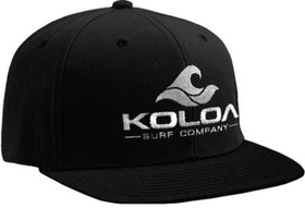 Koloa Surf Black Solid Snapback Hat with White Embroidered Logo