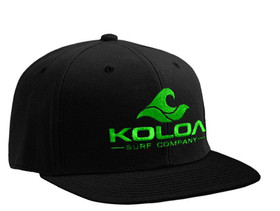 Koloa Surf Black Solid Snapback Hat with Green Embroidered Logo