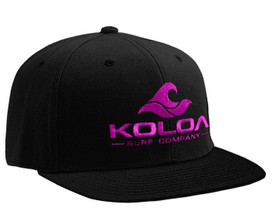 Koloa Surf Black Solid Snapback Hat with Pink Embroidered Logo