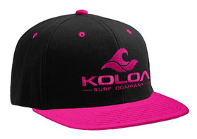 Koloa Surf Pink/Black Solid Snapback Hat with Pink Embroidered Logo