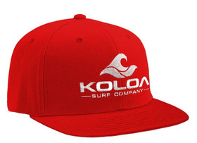 Koloa Surf Red Solid Snapback Hat with White Embroidered Logo