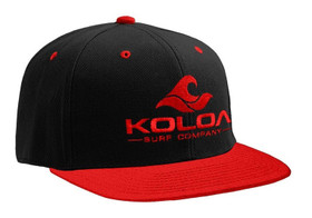 Koloa Surf Red/Black Solid Snapback Hat with Red Embroidered Logo