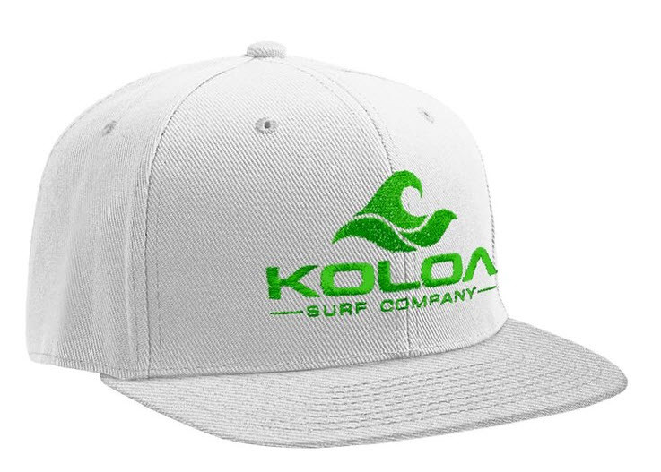 a903b043c35 ... Koloa Surf White Solid Snapback Hat with Green Embroidered Logo. Image 1