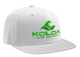 Koloa Surf White Solid Snapback Hat with Green Embroidered Logo