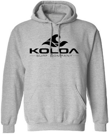 Koloa Surf Hoodies Classic Wave Logo Hooded Sweatshirts - Sport Grey with  Black logo 802e1bcc64f5