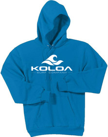 Koloa Surf Hoodies Classic Wave Logo Hooded Sweatshirt - Sapphire with White logo