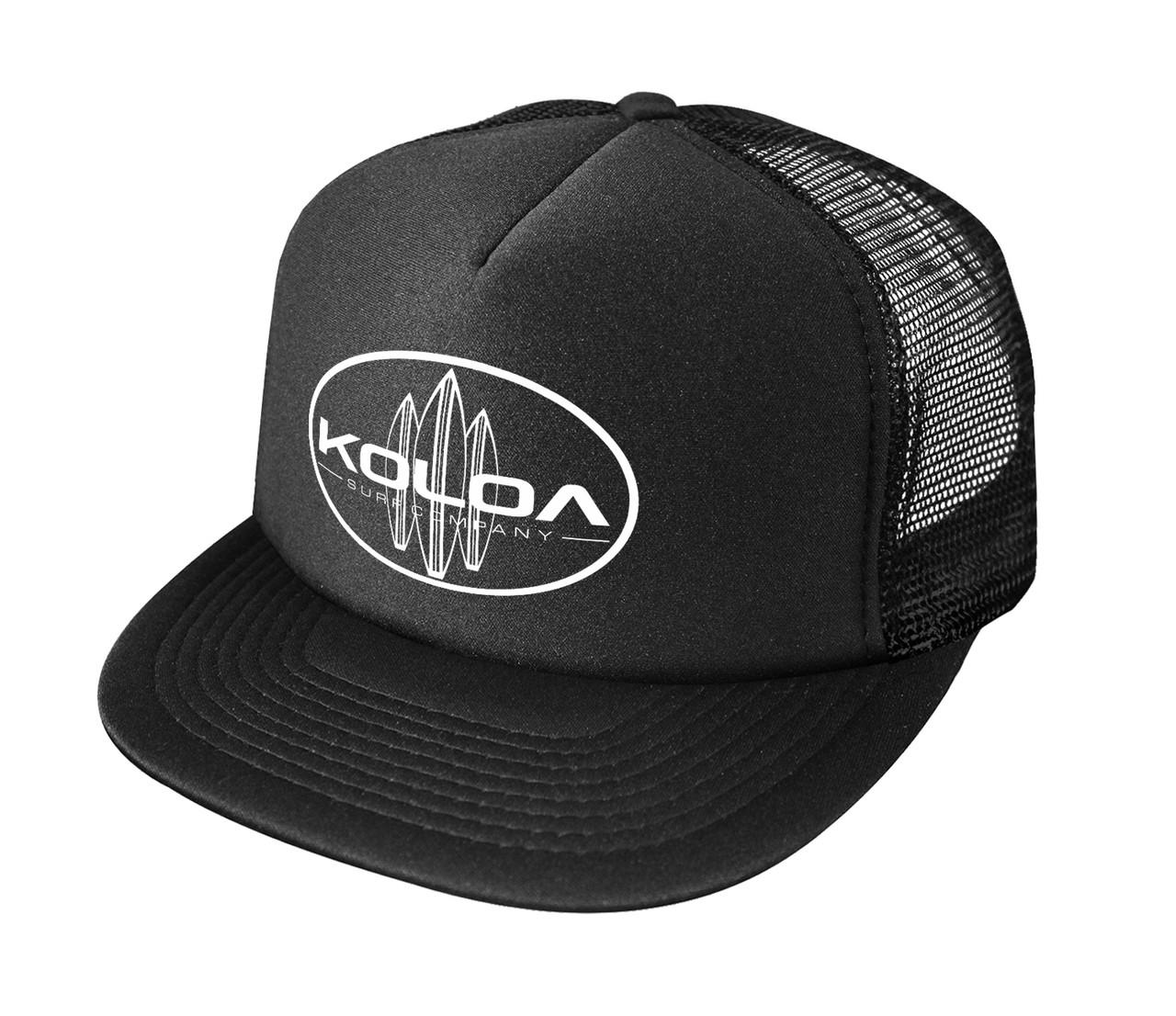 bf955488 Koloa Surf Classic Surfboards Poly Foam High Profile Trucker Hats- Black/w