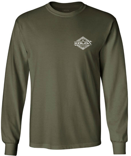 8b2313401 Home · Tall; Koloa Surf Co. Diamond Thruster Surfboards Logo Long Sleeve  Heavy Cotton T-Shirt. Military Green / White logo
