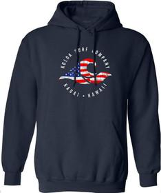 Koloa Surf Vintage USA Flag Wave Logo Pullover Hoodie