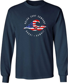 Koloa Surf Vintage USA Flag Wave Logo Long Sleeve Heavy Cotton T-Shirt