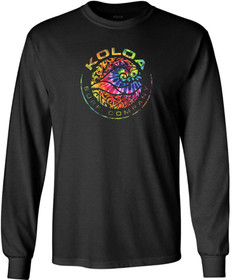 Koloa Surf Circle Wave Multicolor Logo Black Heavyweight Cotton Long Sleeve T-Shirt
