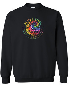 Koloa Surf Circle Wave Multicolor Logo Black Crewneck Sweatshirt