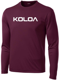 Maroon Koloa Surf Original Logo Moisture Wicking Long Sleeve T-Shirt