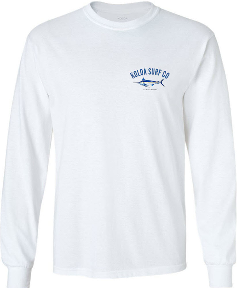 Koloa Surf Co. Blue Marlin Long Sleeve White Cotton T-Shirt. Regular ... d87a6330c18