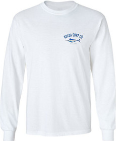 Koloa Surf Blue Marlin Long Sleeve White Cotton T-Shirt. Regular, Big & Tall