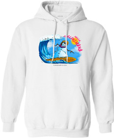 Koloa Surf Surfing Snowman Pullover Hooded White Sweatshirt