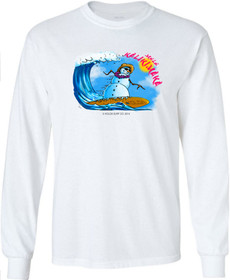 Koloa Surf Surfing Snowman Long Sleeve White Cotton T-Shirt. Regular, Big & Tall