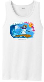 Koloa Surf Surfing Snowman White Tank Top