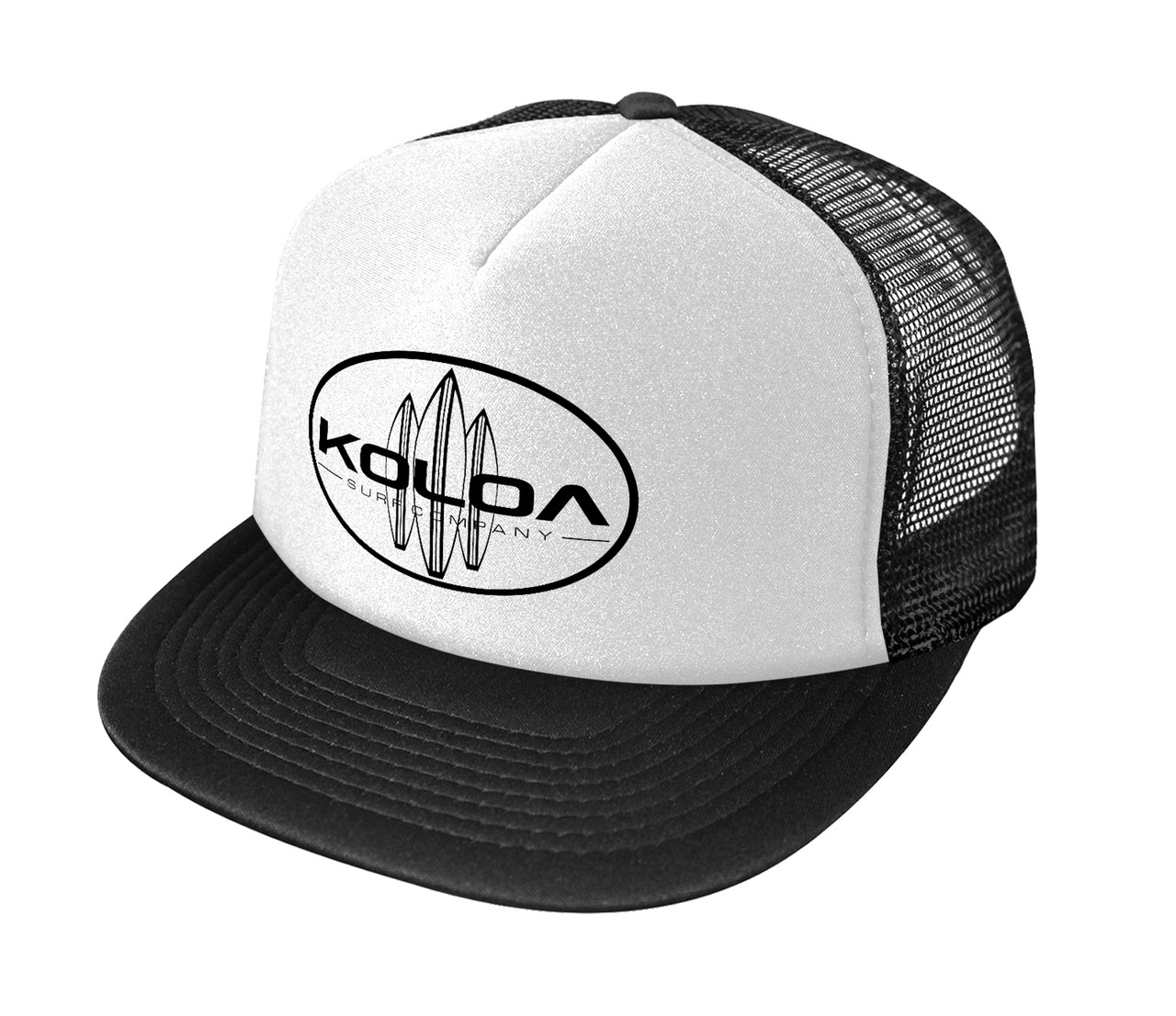 a8d7a69b6 Koloa Surf Screen Printed Classic Surfboards Poly-Foam Mesh Snapback High  Profile Trucker Hat - White / Black logo