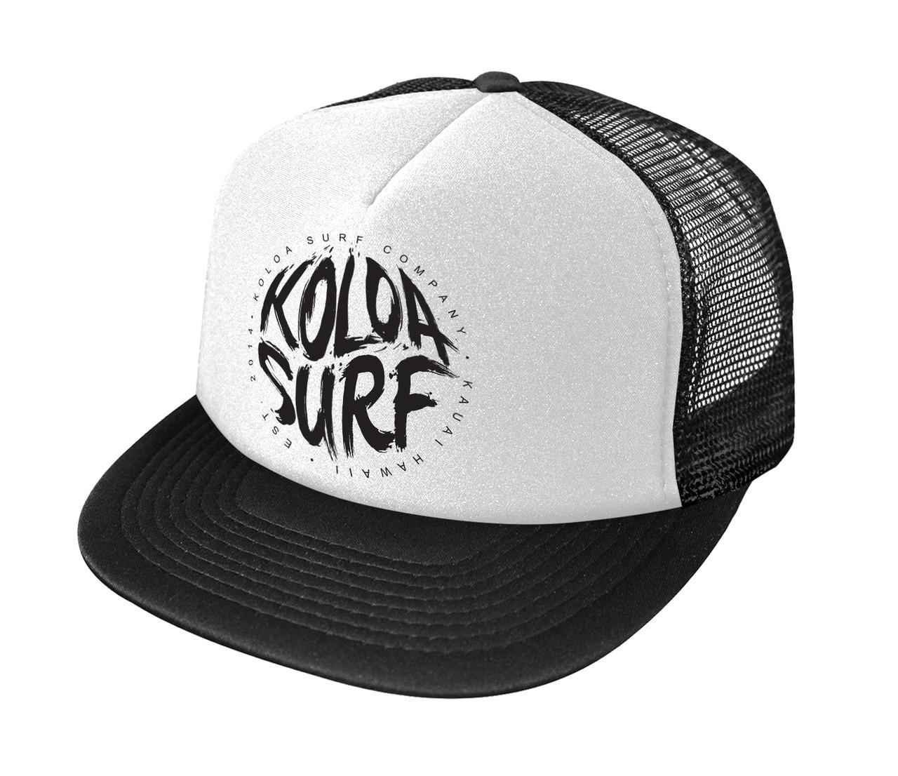 Koloa Surf Brush logo Poly-Foam Mesh Snapback High Profile Trucker ... 74ade141f77c