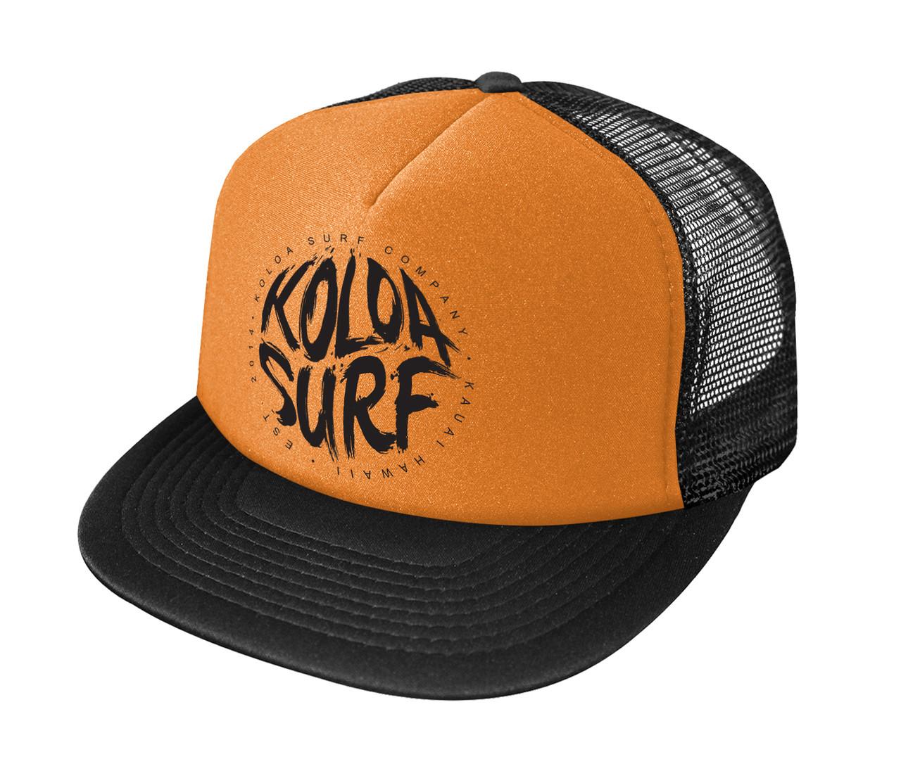 a2e5809aad1 ... Printed Logo Poly-Foam Mesh Snapback High Profile Trucker Hats Neon  Orange   Black logo. Neon Orange   Black logo