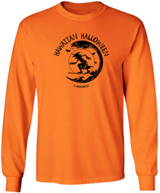 Koloa Surf Surfing Halloween Witch Logo Orange Heavy Cotton Long Sleeve T-Shirts