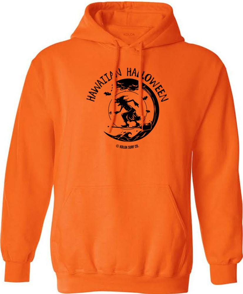 12926ee4c01d6 ... Koloa Surf Surfing Halloween Witch Orange Pullover Hooded Orange  Sweatshirt. Image 1