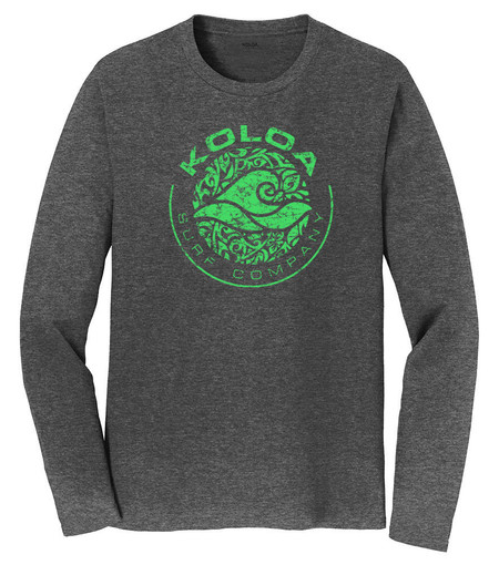 Dark Heather Grey / Green logo