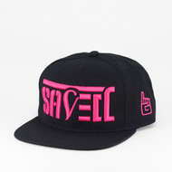 SAVED Ambigram Snapback (black - black) Pink