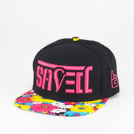 SAVED Ambigram Snapback (daisy - black) pink