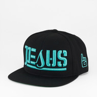 JESUS Ambigram Snapback (black - black) TEAL