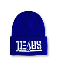 JESUS Ambigram Cuff Beanie - Royal Blue