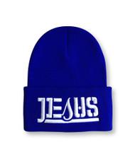 JESUS Ambigram Cuff Beanie - Royal Blue