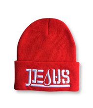 JESUS Ambigram Cuff Beanie - Red