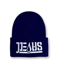 JESUS Ambigram Cuff Beanie - Navy Blue