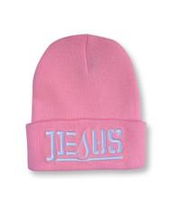 JESUS Ambigram Cuff Beanie - LT Pink (wht letters)