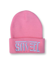 SAVED Ambigram Cuff Beanie - LT Pink (wht letters)