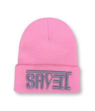 SAVED Ambigram Cuff Beanie - LT Pink (gray letters)