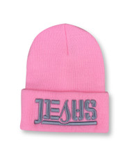JESUS Ambigram Cuff Beanie - LT Pink (gray letters)