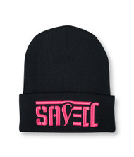 SAVED Ambigram Cuff Beanie - Black (pink letters)