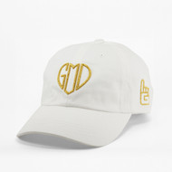 GOD IS LOVE Dad Hat - White - Gold Metallic