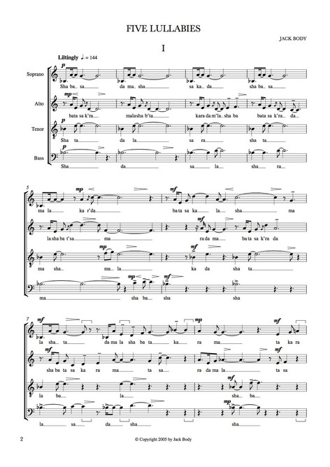 Five Lullabies [PDF score for choirs only]