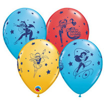 "25ct DC Superhero Girls Print 11"" Latex Balloons Qualatex Girl Power Party Event"