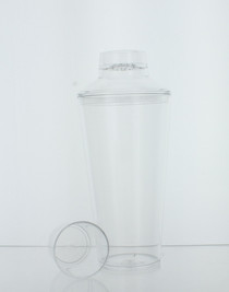 25 oz. Plastic Cocktail Shaker W/Jigger Cap Clear Bartender Party Drink Mixer