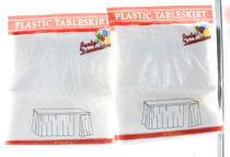 """Lot of 2 White Table Skirts 29"""" x 14' Plastic Table Skirt Party Decoration Cover"""