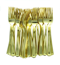 Polished Gold Plastic Forks Heavy Weight Party Utensils Lillian Lot of 48